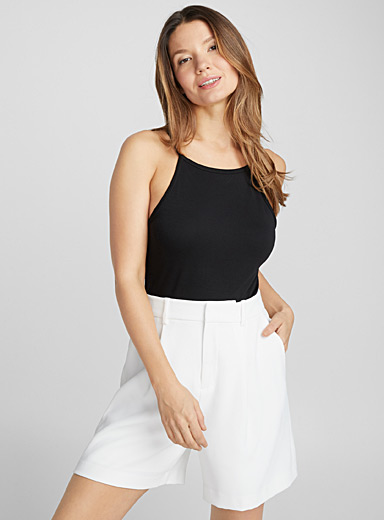Cotton-lyocell halter bodysuit