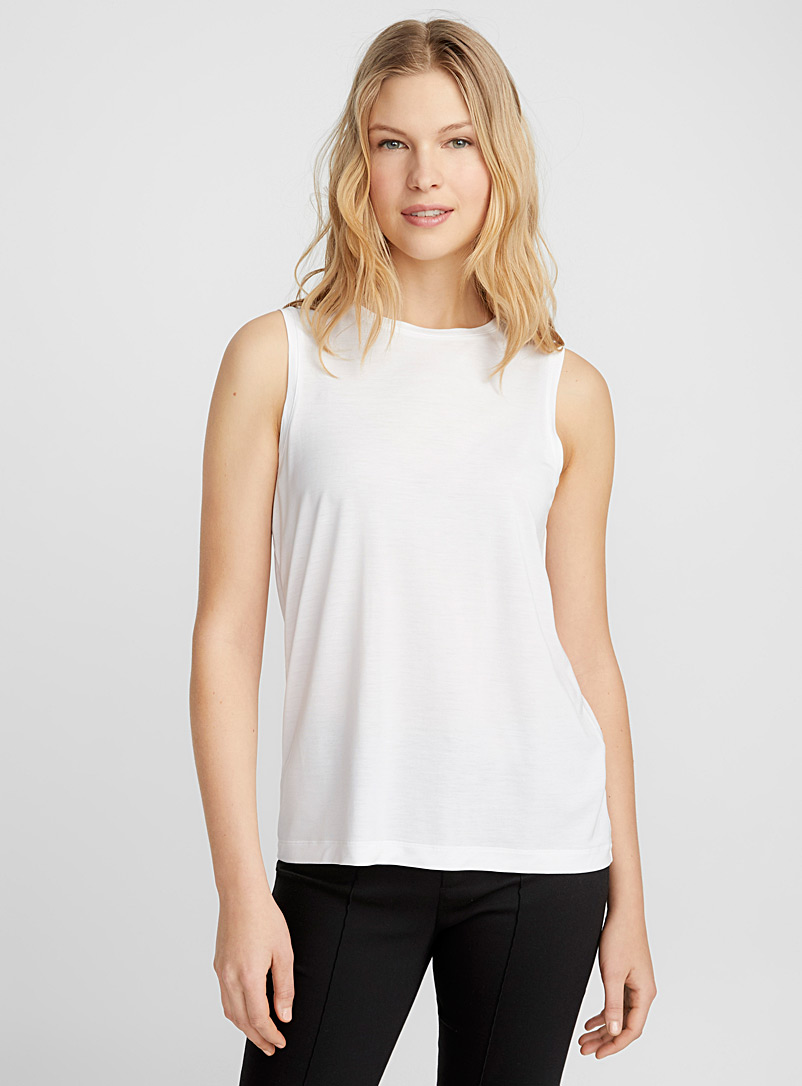 La camisole col rond lyocell fluide - Camisoles - Blanc