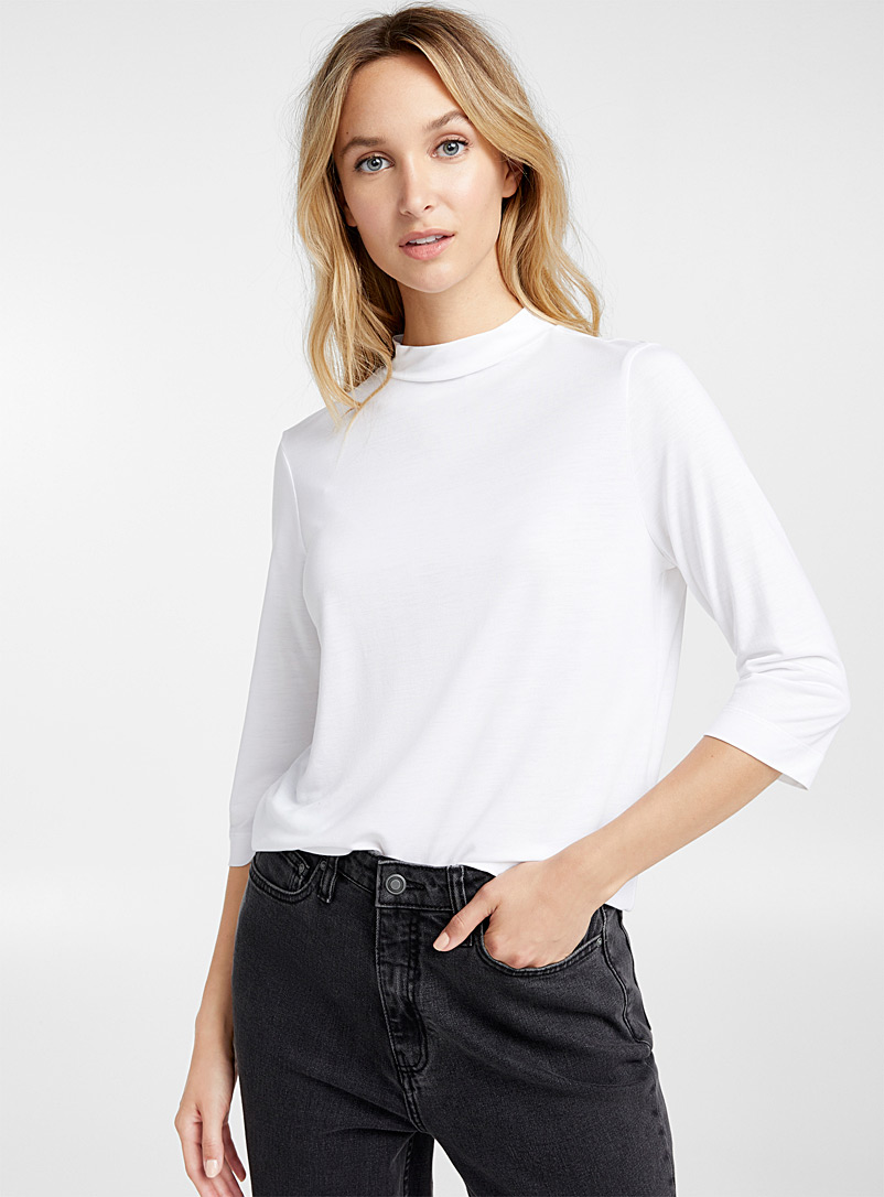 Lyocell mock-neck tee - Basic - White