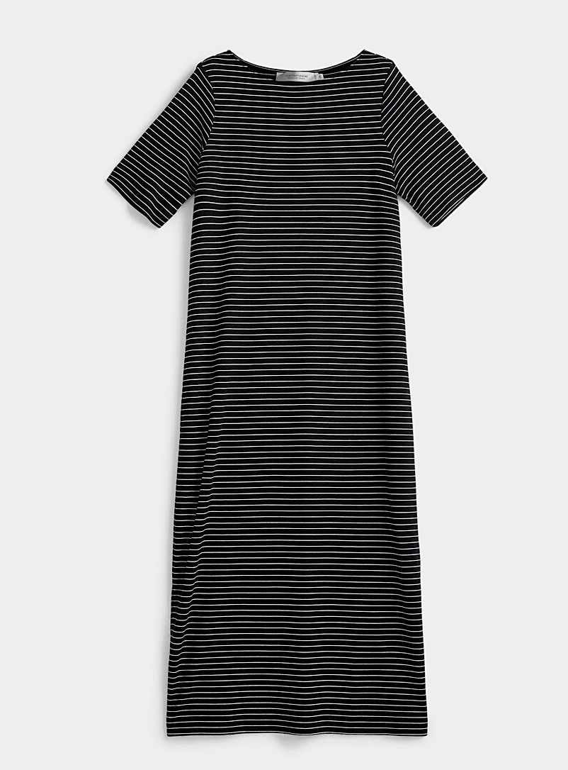 Contemporaine Patterned Black Soft jersey maxi T-shirt dress for women