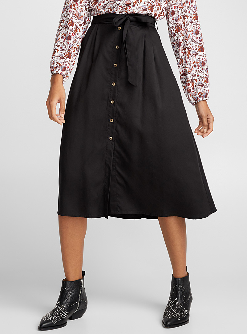 Peasant lyocell skirt - Midi - Black