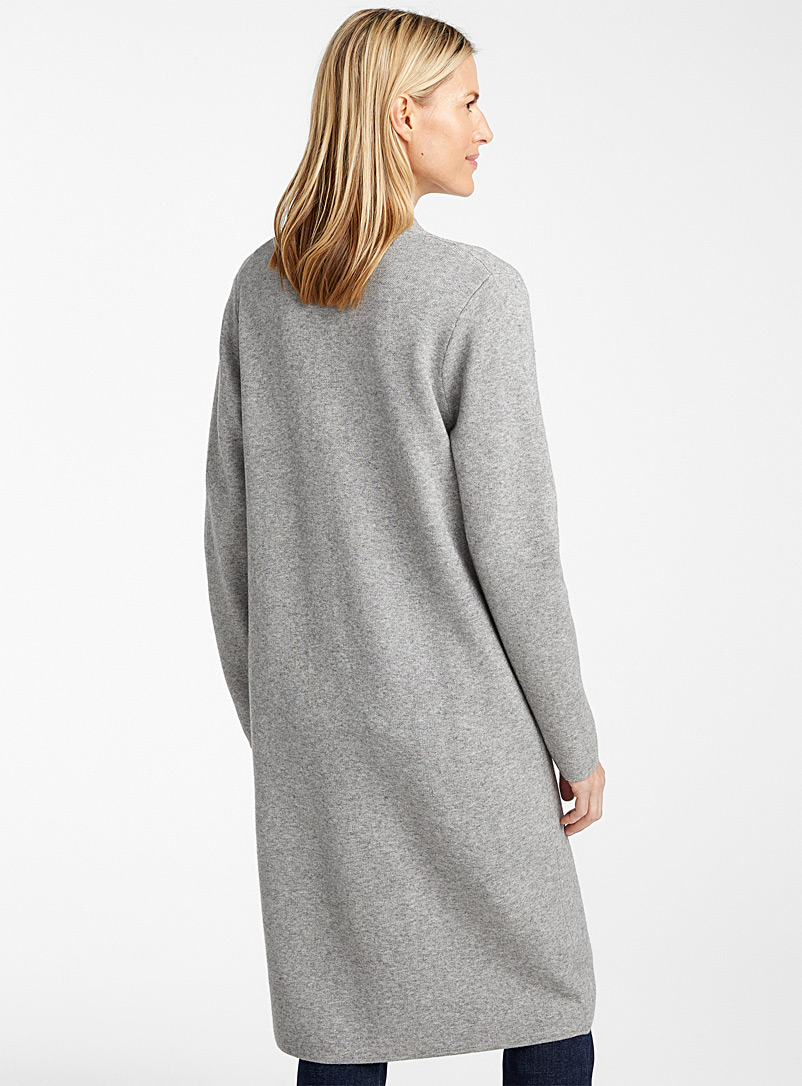 Contemporaine Silver Long two-button cardigan for women
