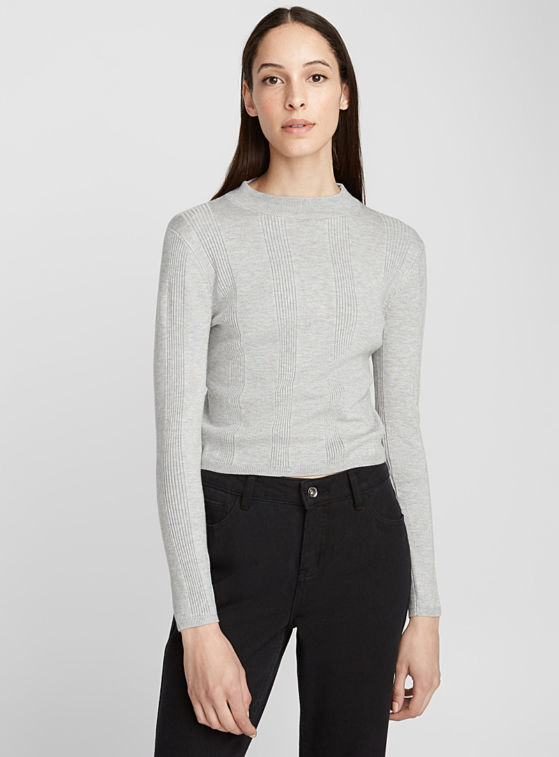 Ribbed high-neck striped sweater - Sweaters - Light Grey