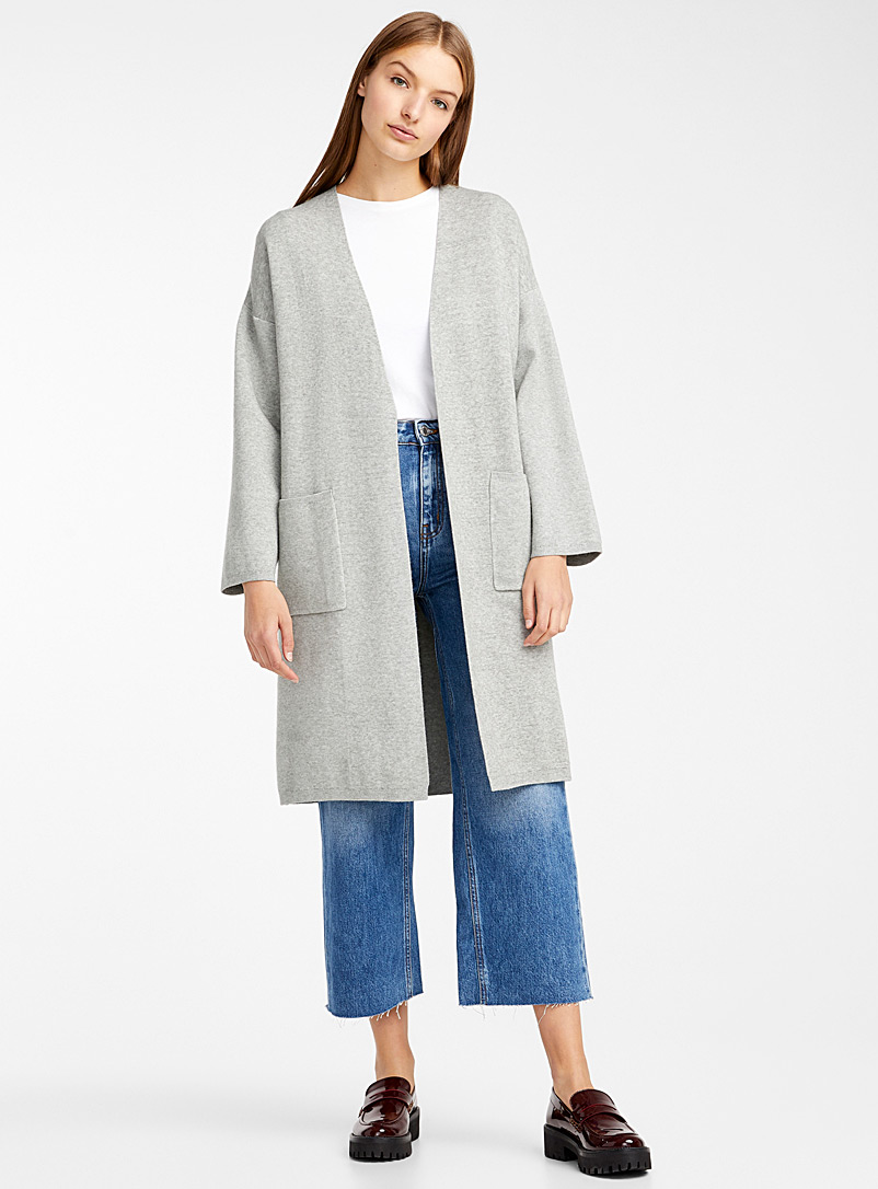 Long structured knit open cardigan - Sweaters - Light Grey