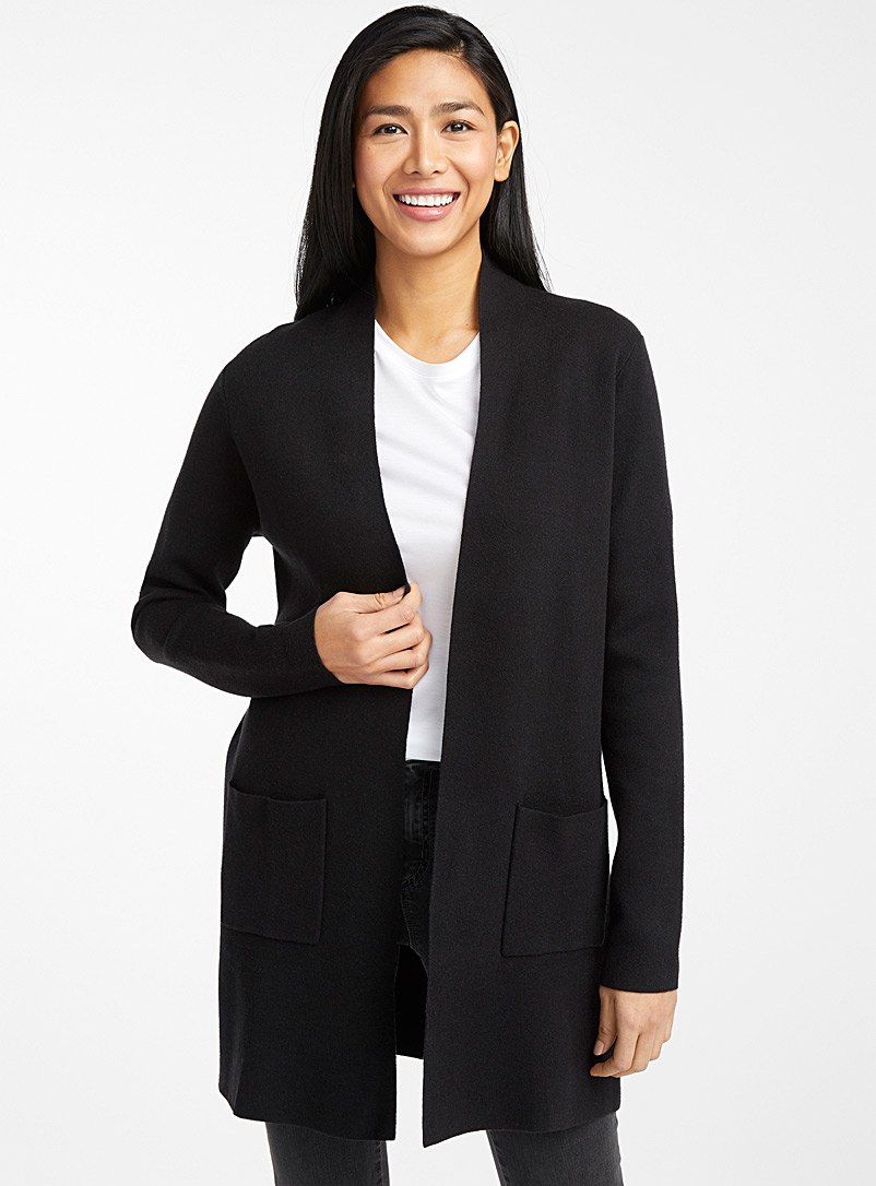 Contemporaine Black Long open cardigan for women