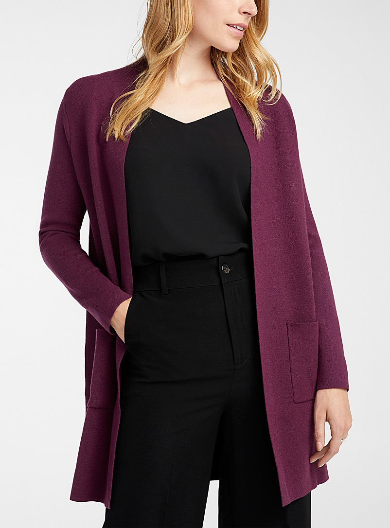 Contemporaine Dark Crimson Long open cardigan for women
