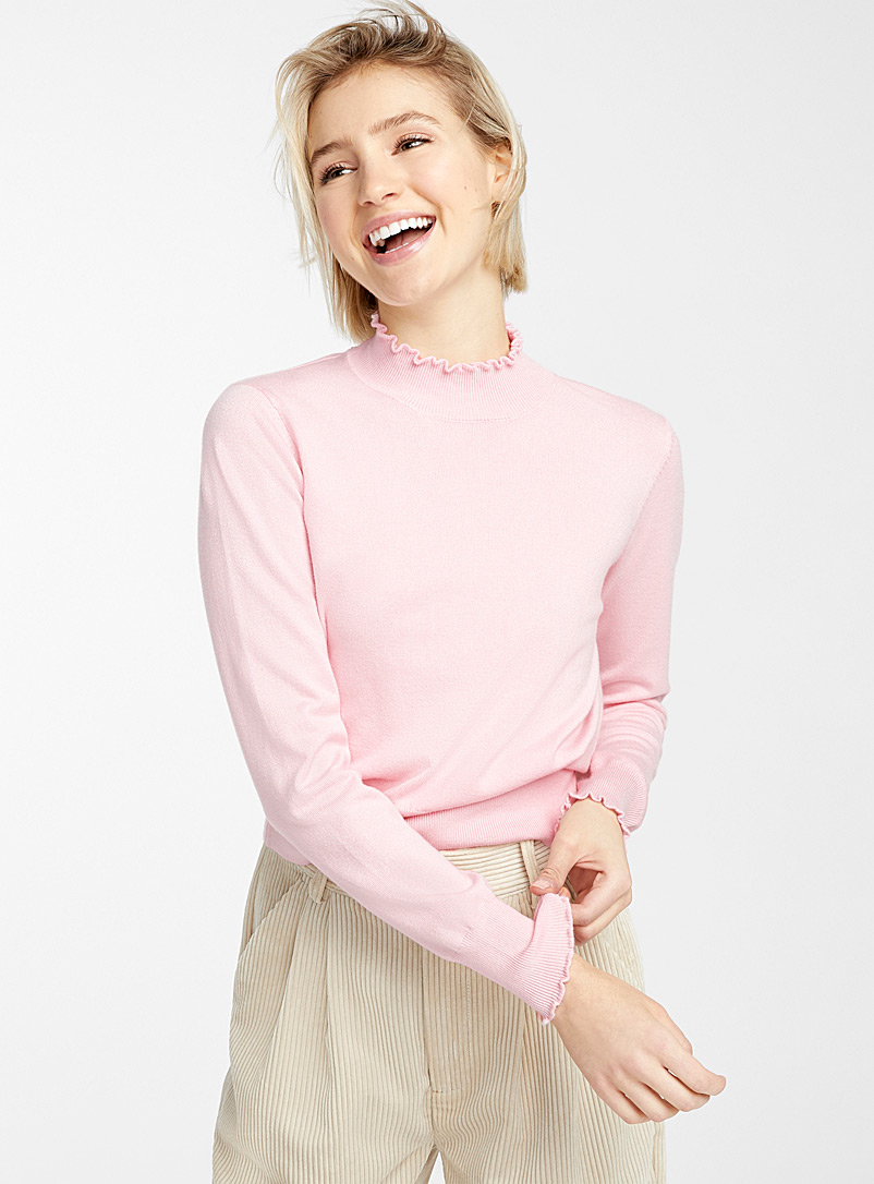 Twik Pink Ruffle edge mock neck for women