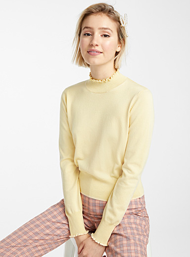 Twik Light Yellow Ruffle edge mock neck for women