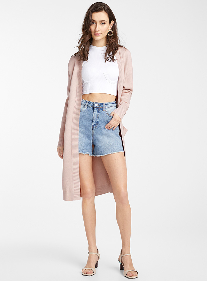 Ic?ne Pink Long ribbed-band cardigan for women