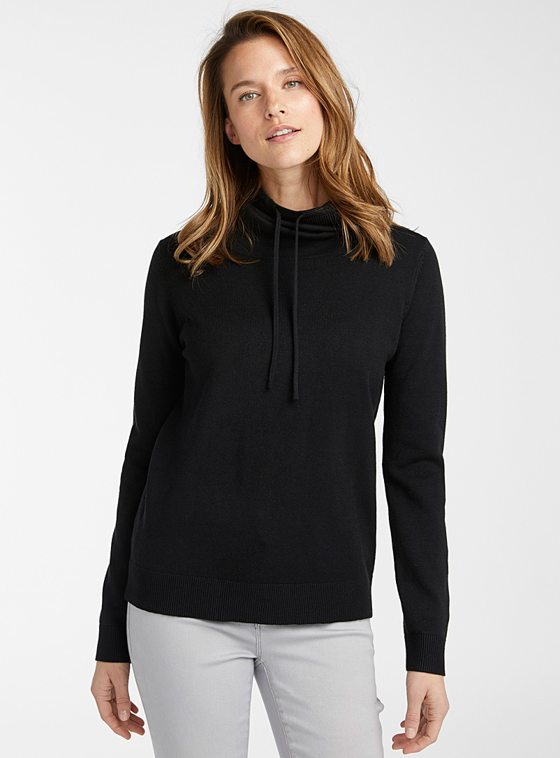 Contemporaine Black Drawstring mock-neck sweater for women
