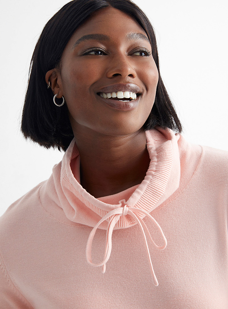 Drawstring mock-neck sweater - Sweaters - Pink