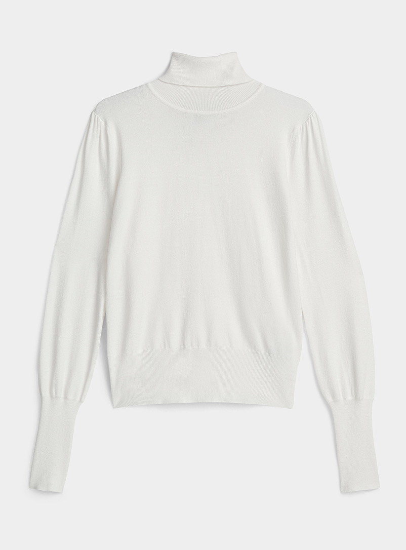 Icône Ivory White Gathered shoulder turtleneck for women