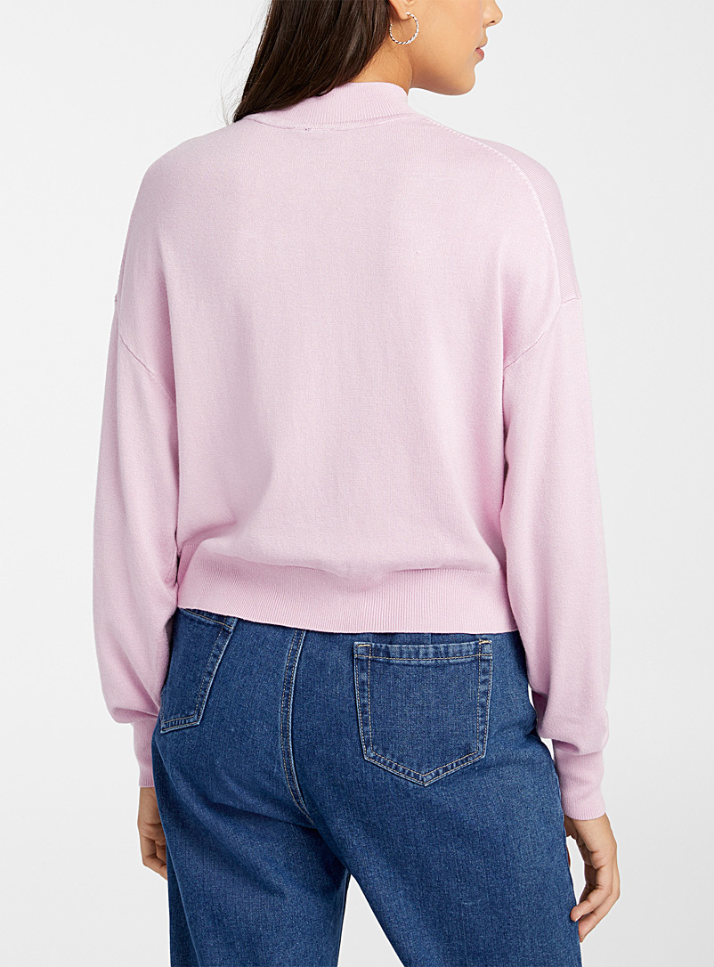 Icône: Le pull ample manches bulle Rose pour femme