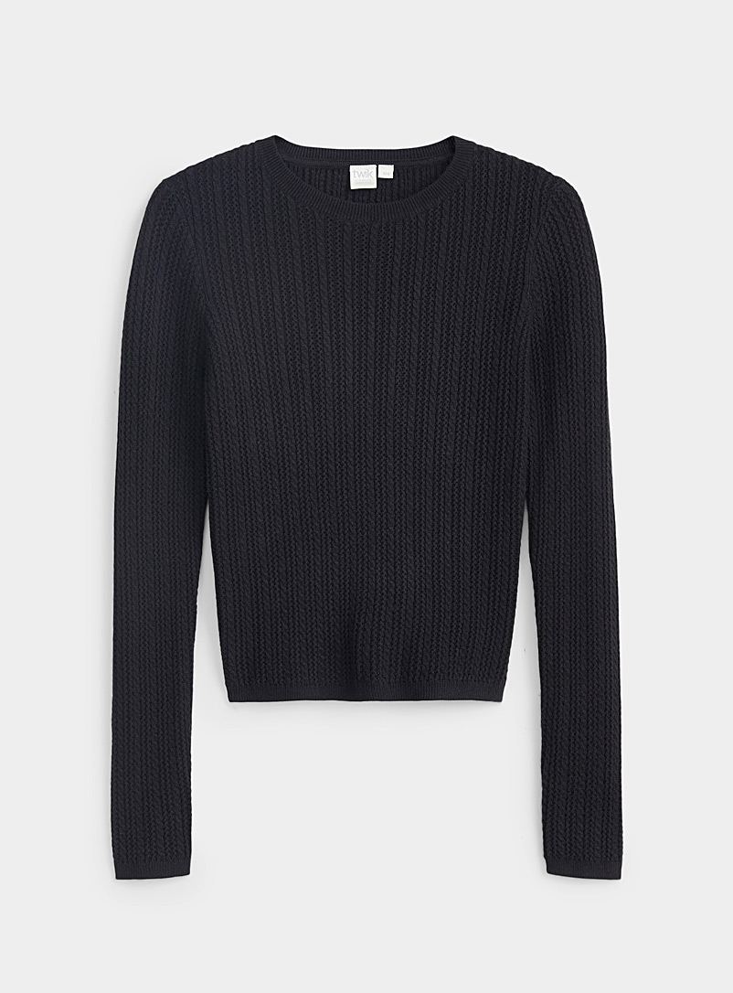 Twik Black Pointelle stripe sweater for women