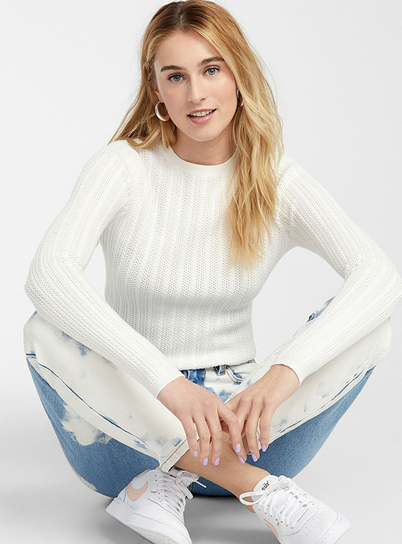 Twik Ivory White Pointelle stripe sweater for women