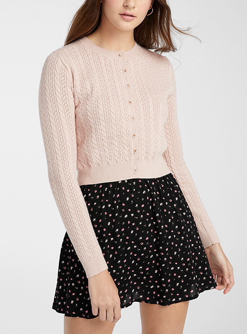 Twik Dusky Pink Openwork diamond and cable cardigan for women
