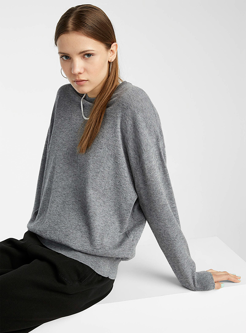 Twik Grey Basic loose crew neck sweater for women