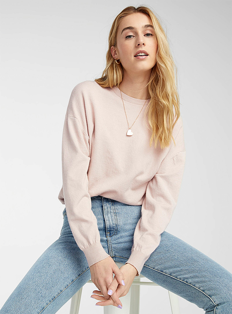 Twik Dusky Pink Basic loose crew neck sweater for women