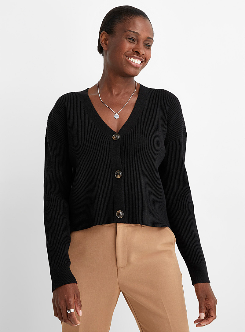 Contemporaine Black Loose & crop ribbed cardigan for women