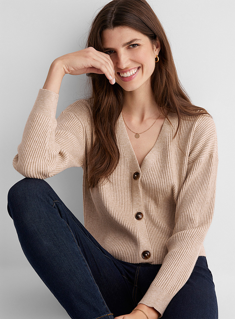 Contemporaine Honey Cropped ribbed cardigan for women