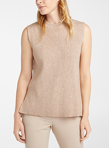 Contemporaine Honey Ribbed loose sweater tank for women