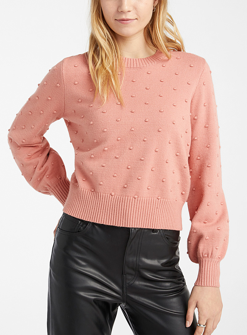 Twik Medium Pink Striking polka dot sweater for women