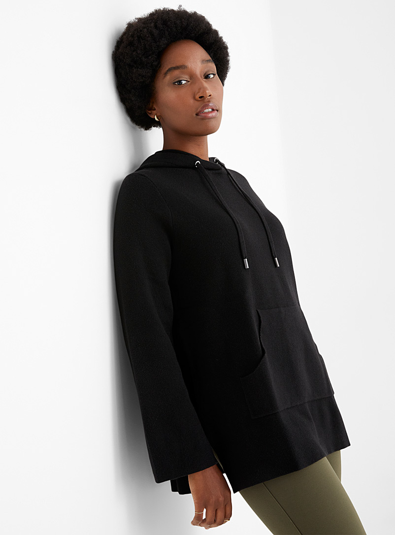 Contemporaine Black Long hoodie sweater for women