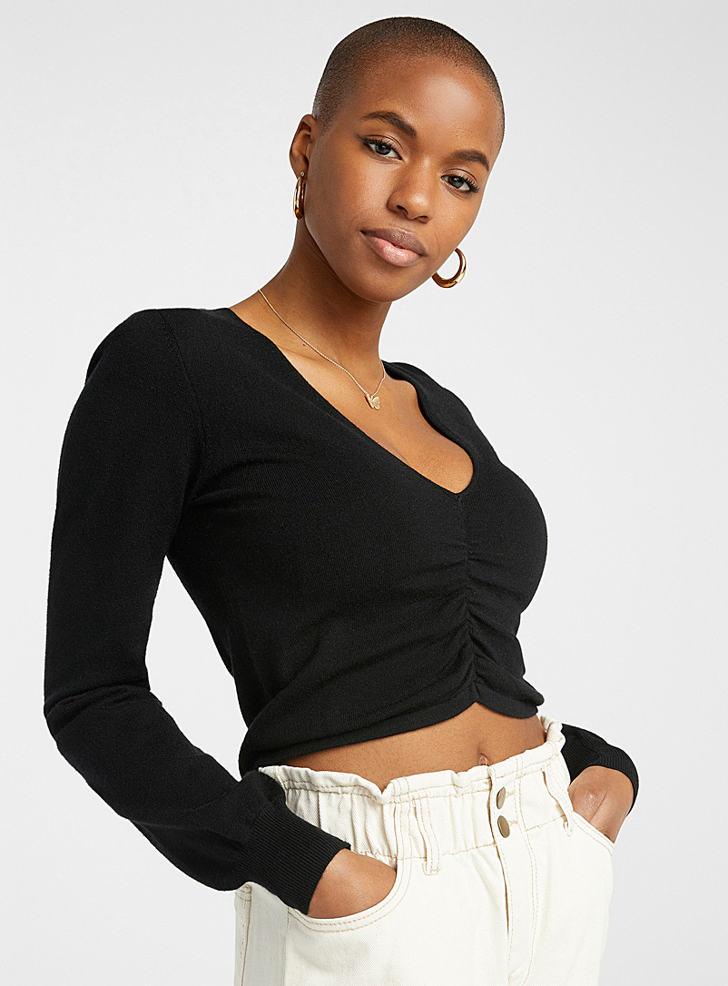 Twik Black Gathered cropped V-neck sweater for women