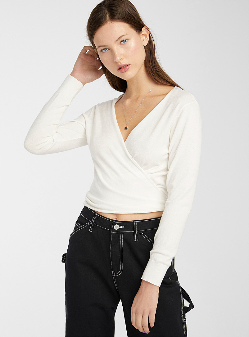 Twik Ivory White Fine knit knotted back cardigan for women