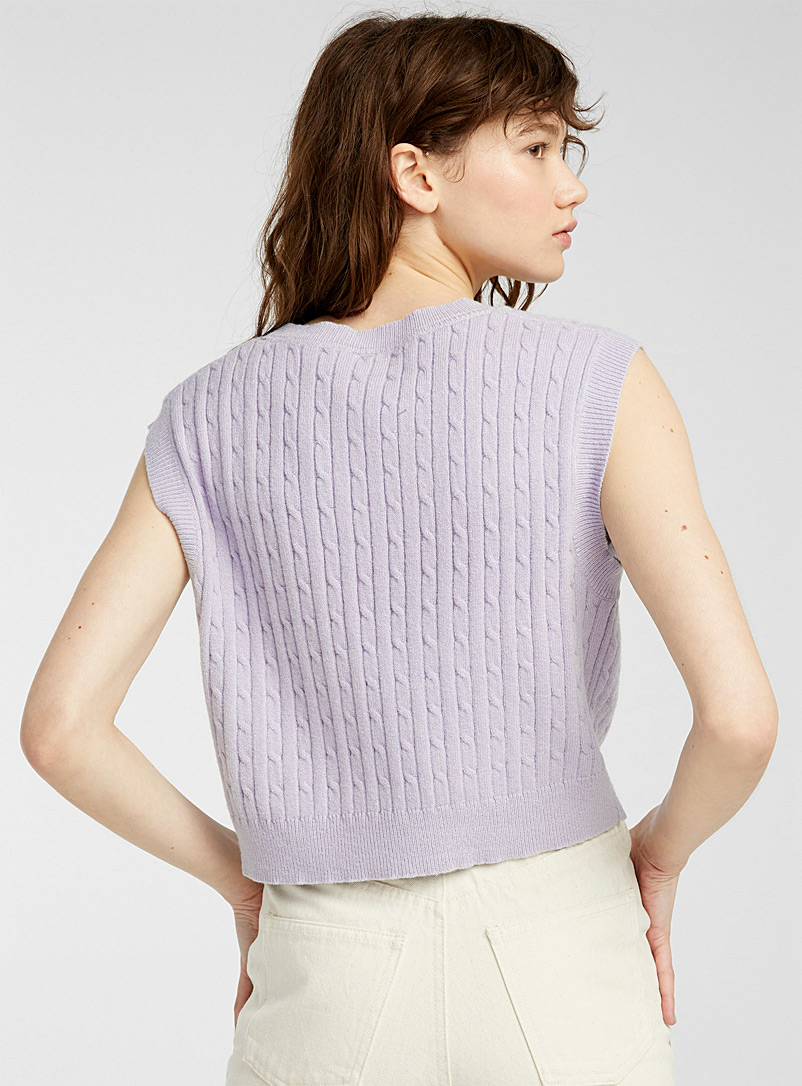 Twik Black Cropped cable-knit sweater vest for women