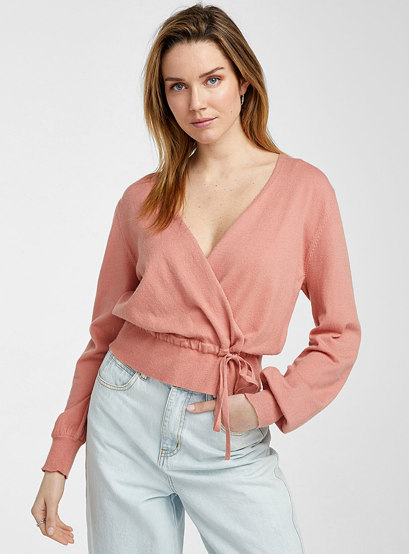 Icône Pink Puff-sleeve crossover sweater for women