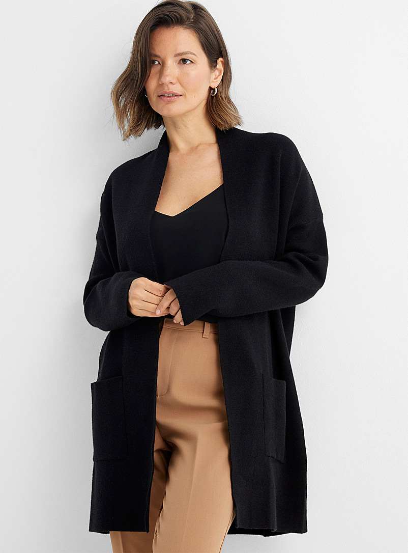 Contemporaine Black Loose open cardigan with pockets for women