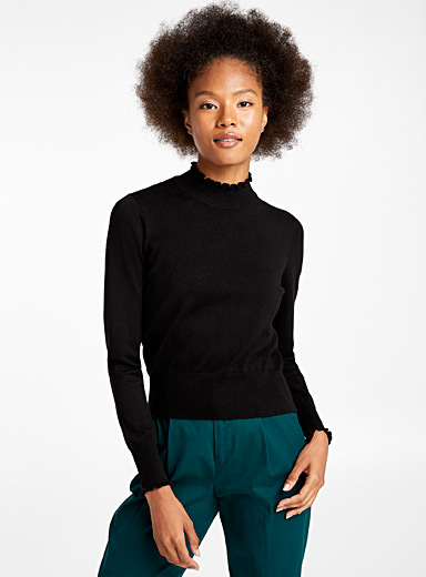 Twik Black Accent ruffle mock-neck sweater for women