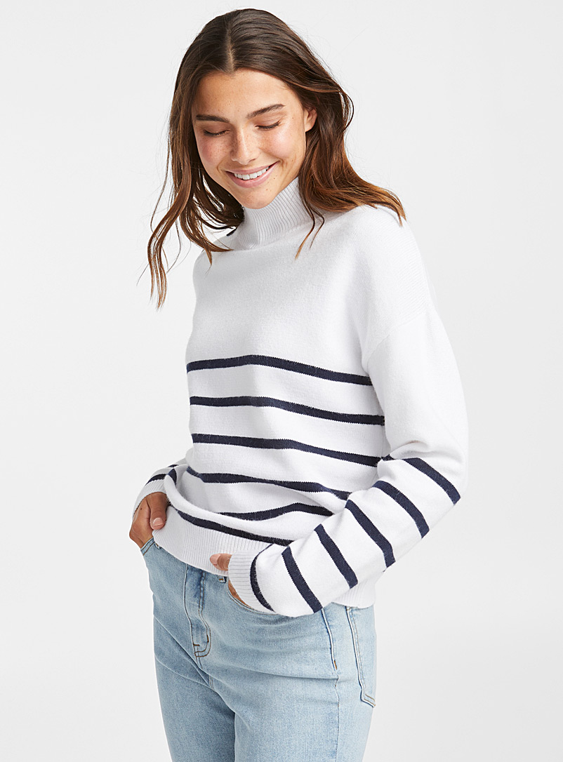 Stripe buttoned mock neck - Sweaters - Ivory White
