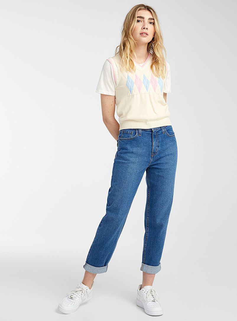 Vibrant M.i.U Sapphire Blue Basic mom jean for women