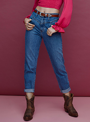 Vibrant M.i.U Sapphire Blue Medium blue Western mom jean for women