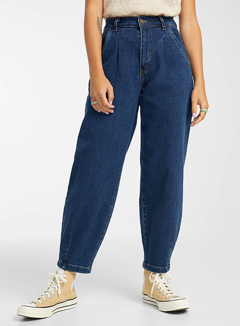 Vibrant M.i.U Oxford Accent-pleat baggy jean for women