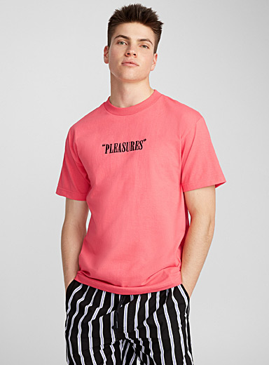 Embroidered logo coral T-shirt