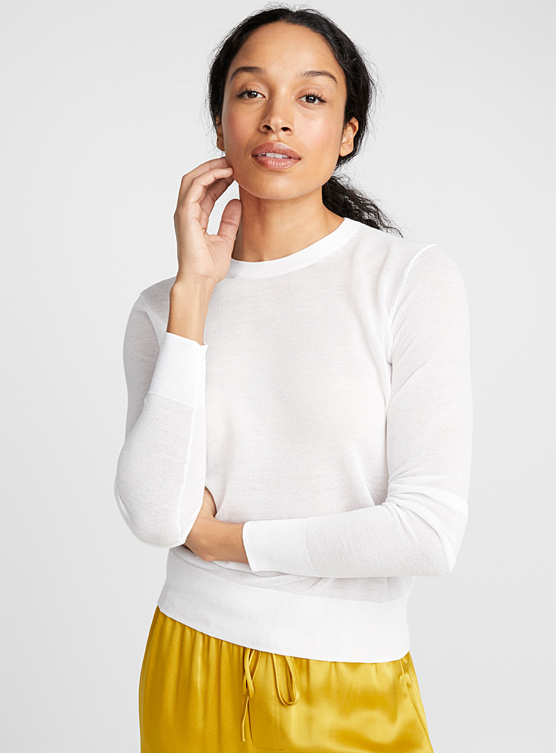 Ultra light textured cotton sweater - Sweaters