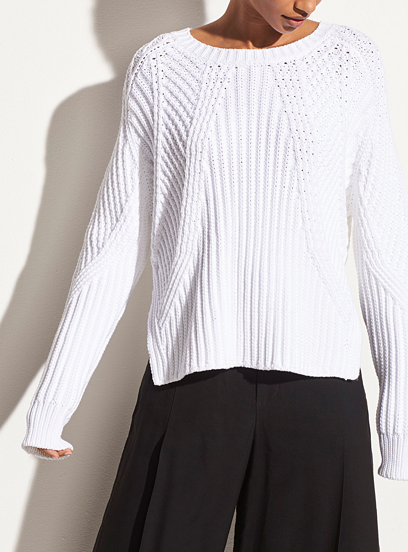 Vince White Textured knit white sweater for women