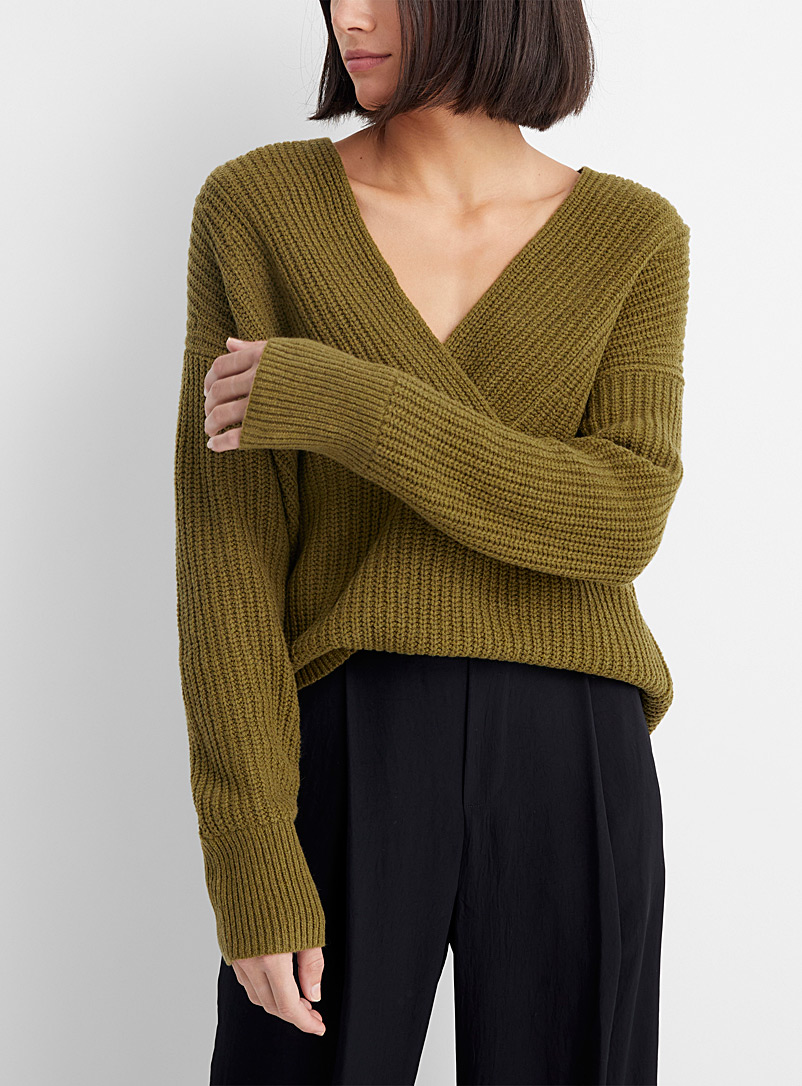 Vince Khaki Overlap V-neck sweater for women