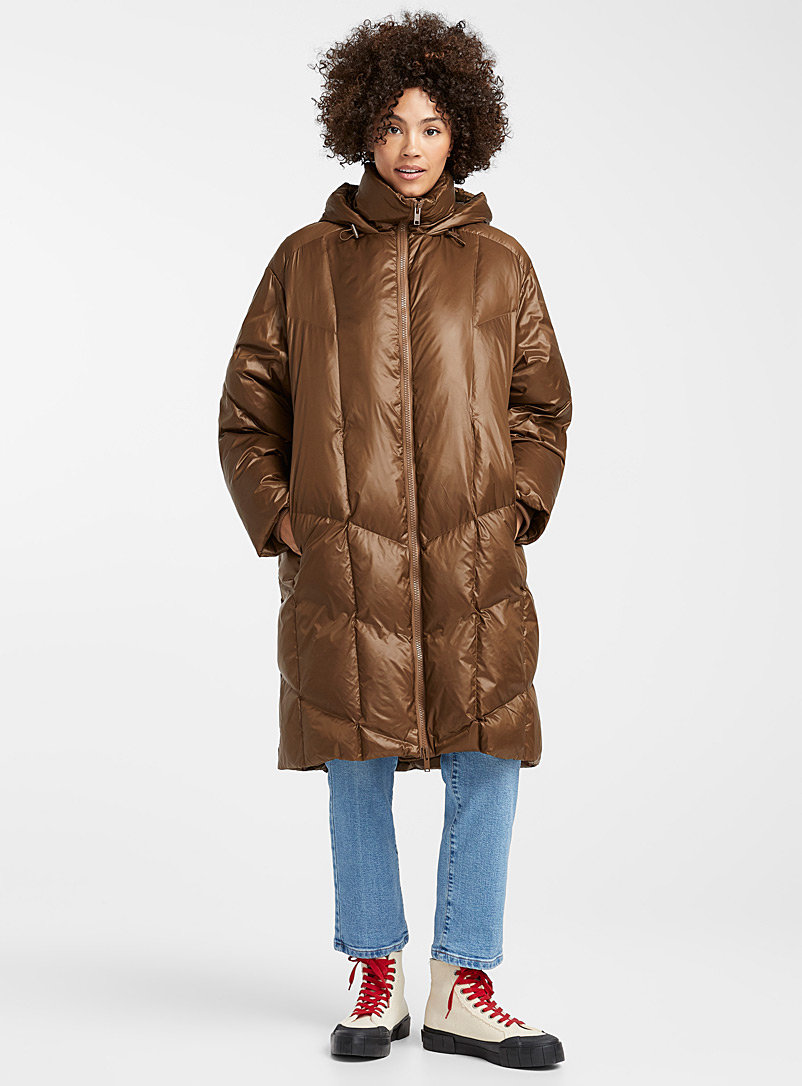 Shiny brown down puffer jacket - Quilted and Down Jackets - Brown