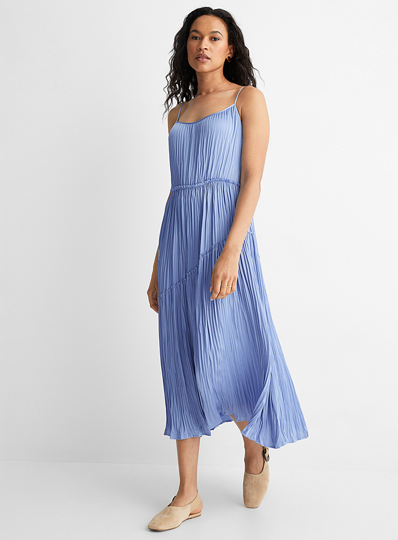 Vince Baby Blue Thin strap pleated dress for women