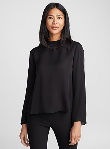 Tie-neck silk blouse
