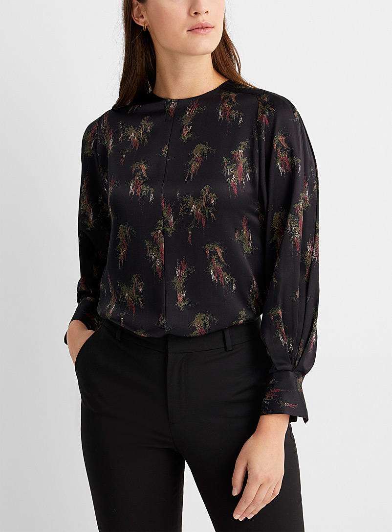 Floral draped-sleeve blouse