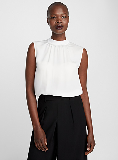 Ribbed-neck silk blouse
