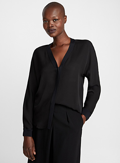 Rib-trim silk blouse
