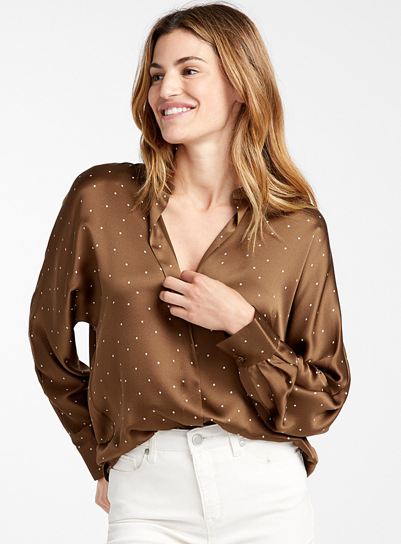 Dotted chocolate satin blouse - Collections - Patterned Brown