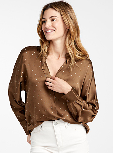 Dotted chocolate satin blouse