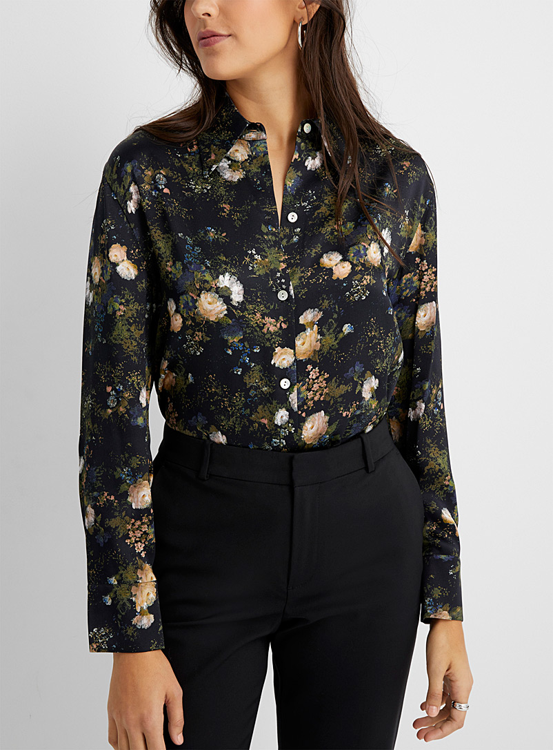 Vince Patterned Black Floral painting silk blouse for women
